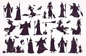 Witch crator, witches and wizard collection. Happy Halloween cards, patterns, decorations.
