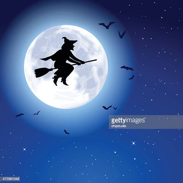 witch fly moon - broom stock illustrations, clip art, cartoons, & icons