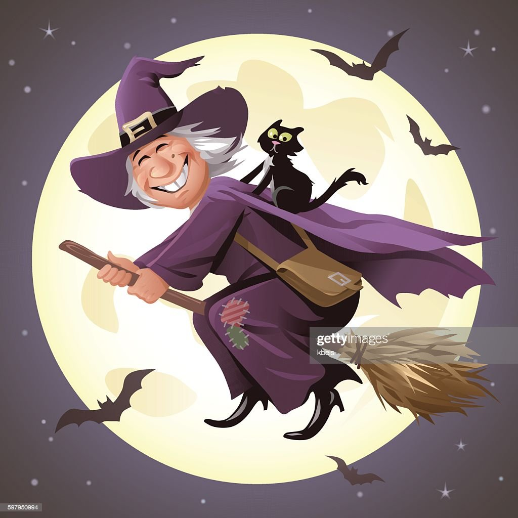 Witch Flying On A Broom In Front Of Full Moon : stock illustration