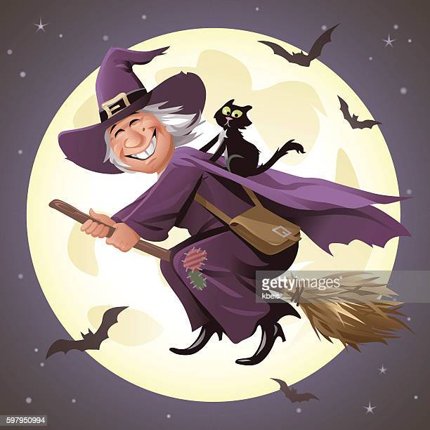 Witch Flying On A Broom In Front Of Full Moon