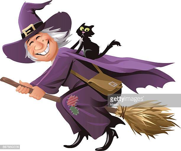 ilustraciones, imágenes clip art, dibujos animados e iconos de stock de witch flying on a broom - mujeres ancianas solamente