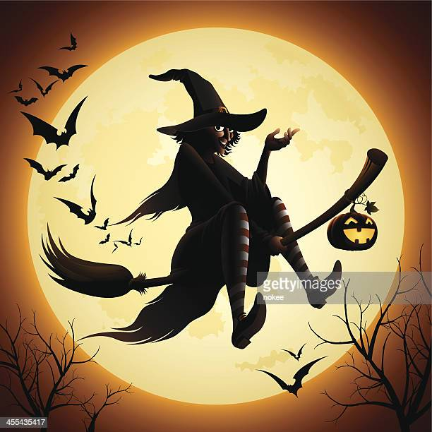 witch flying on a broomstick and bats - broom stock illustrations, clip art, cartoons, & icons