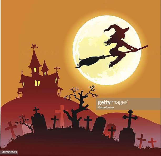 ilustrações de stock, clip art, desenhos animados e ícones de bruxa de halloween voar na noite - mulher fatal