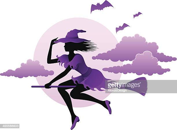 witch flying on her broom - broom stock illustrations, clip art, cartoons, & icons