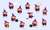 Witch Halloween Girl in witch costume with pumpkin, potty for potion, poster, speech bubble, flies on a broomstick, in various situations Vector