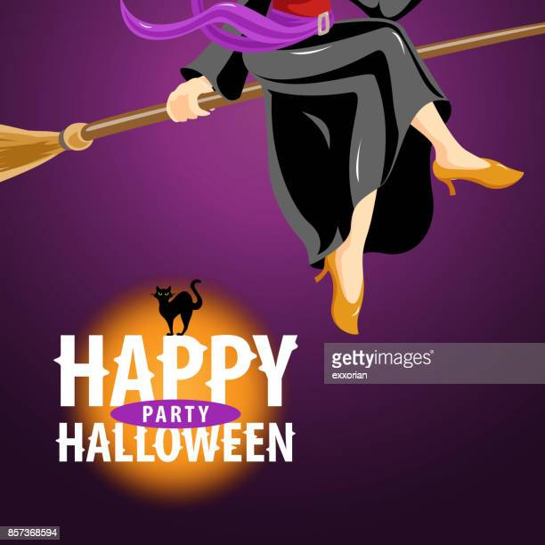 witch halloween party invitations - broom stock illustrations, clip art, cartoons, & icons
