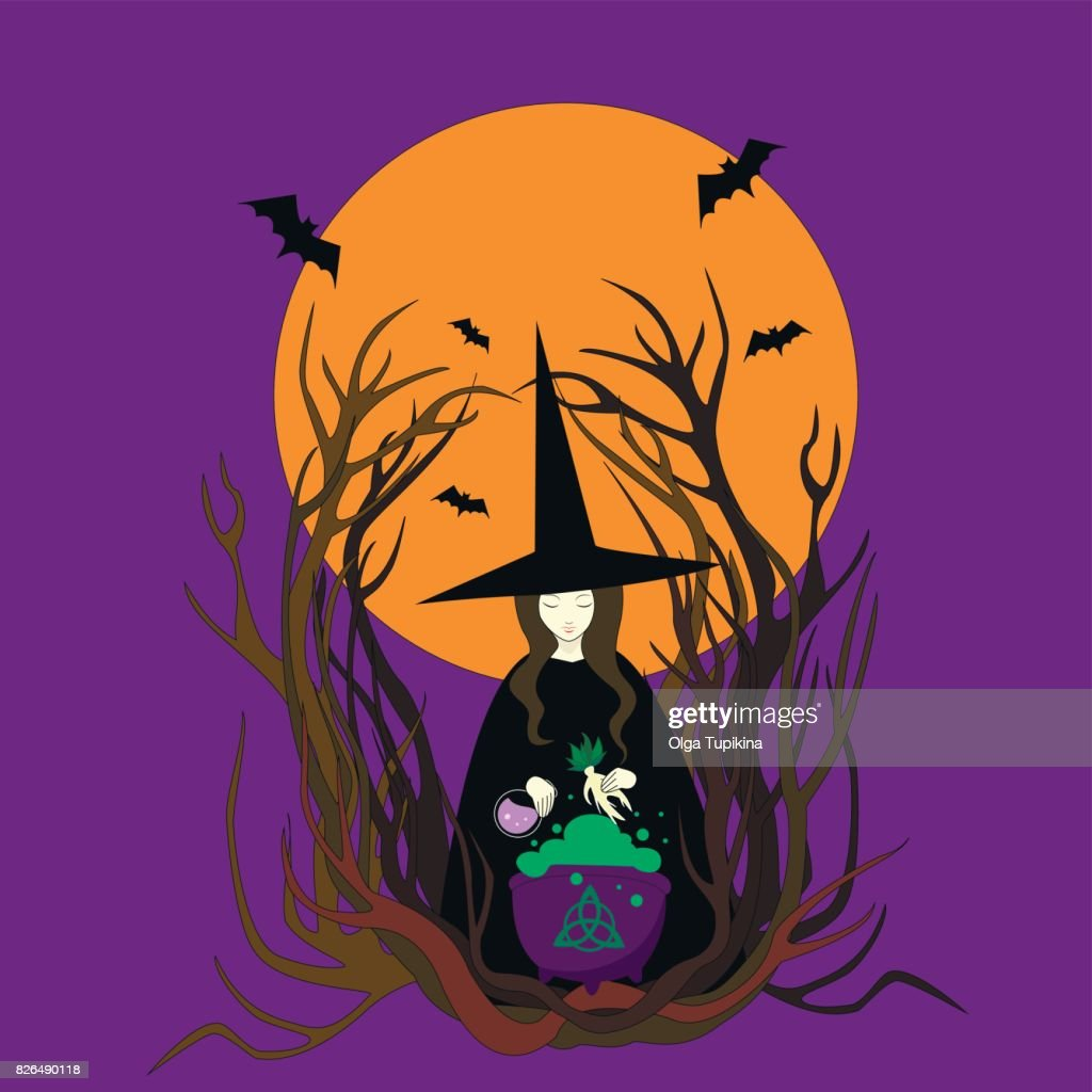 Witch hat preparing a magical potion. Halloween bats full moon mandrake cauldron.