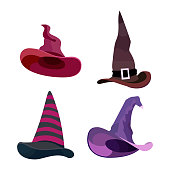 Witch hats with straps and buckles set. Vector illustration isolated