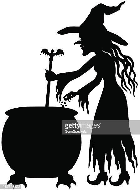 Witch making potion silhouette