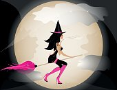 Witch  on sky and moon
