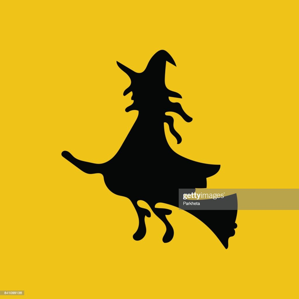witch on the broom silhouette vector art getty images