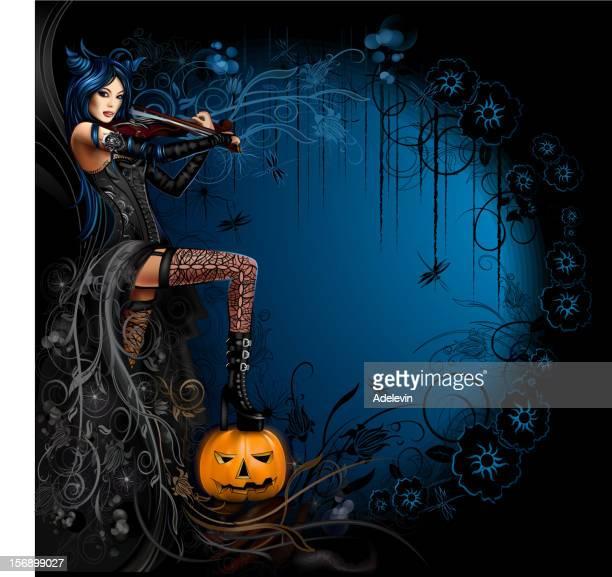 Hexe auf die Violine spielt