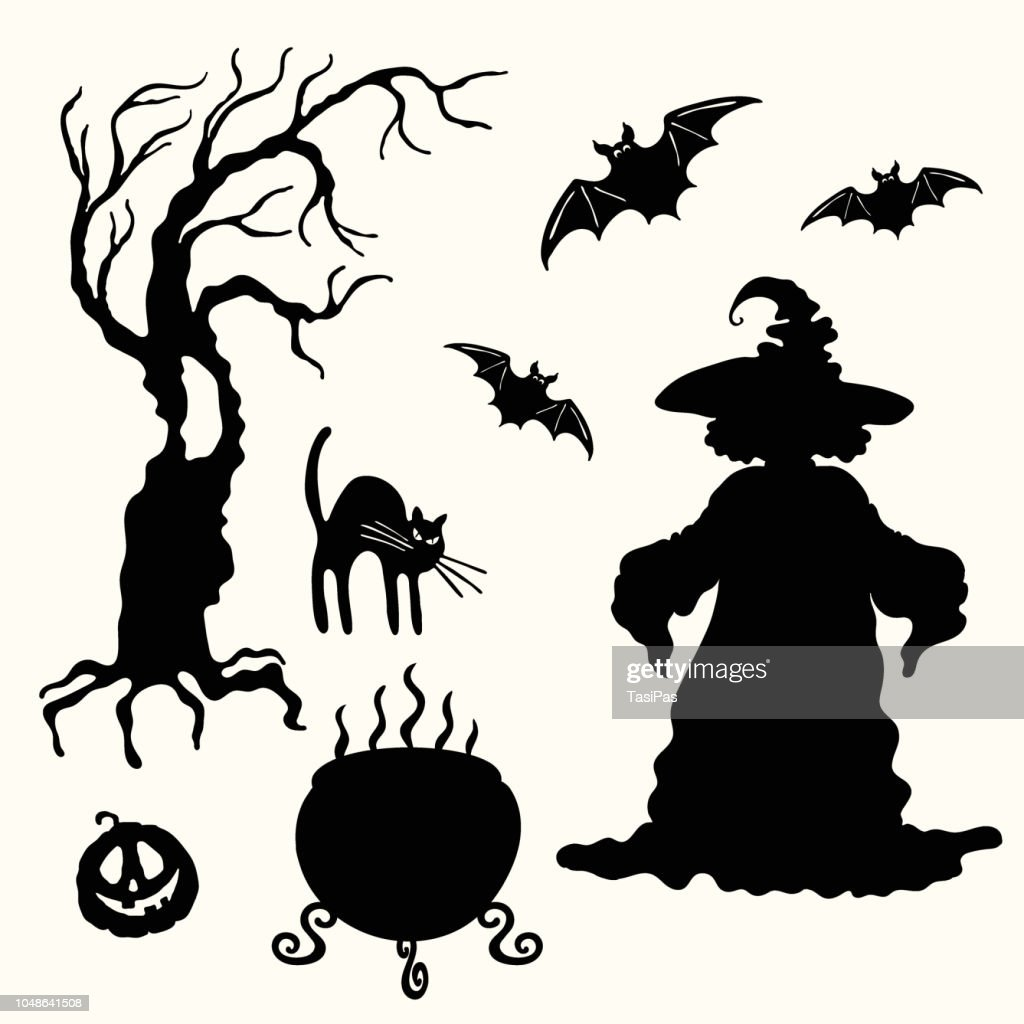 Witch, pumpkin lantern, tree, cat, cauldron and bat stencil