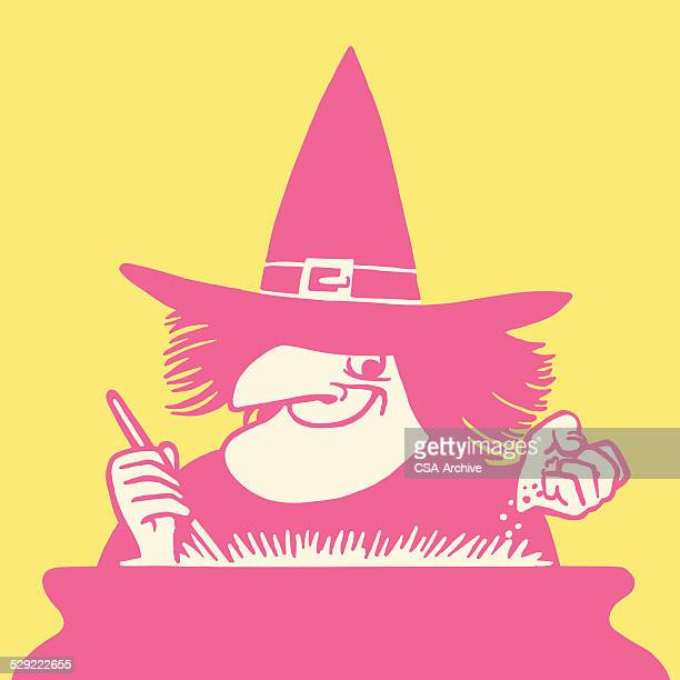 witch stirring a potion - cauldron stock illustrations, clip art, cartoons, & icons