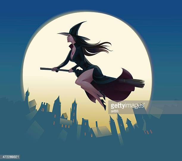 witch - broom stock illustrations, clip art, cartoons, & icons