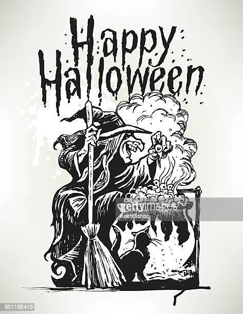 witch with black cat at cauldron - happy halloween - cauldron stock illustrations, clip art, cartoons, & icons