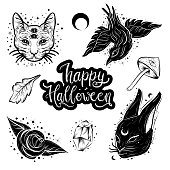 Witchcraft, magic atributes collection. Halloween elements set.
