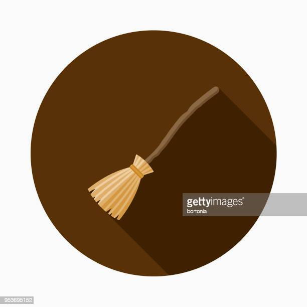 witch's broom flat design halloween icon with side shadow - broom stock illustrations, clip art, cartoons, & icons