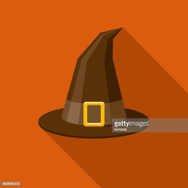 Witch's Hat Flat Design Halloween Icon with Side Shadow