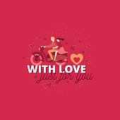 With love just for you. Valentines romantic characters poster de
