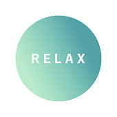 With quote inscription Relax on an blurred background.Icon with an inscription on a turquoise background a relax.