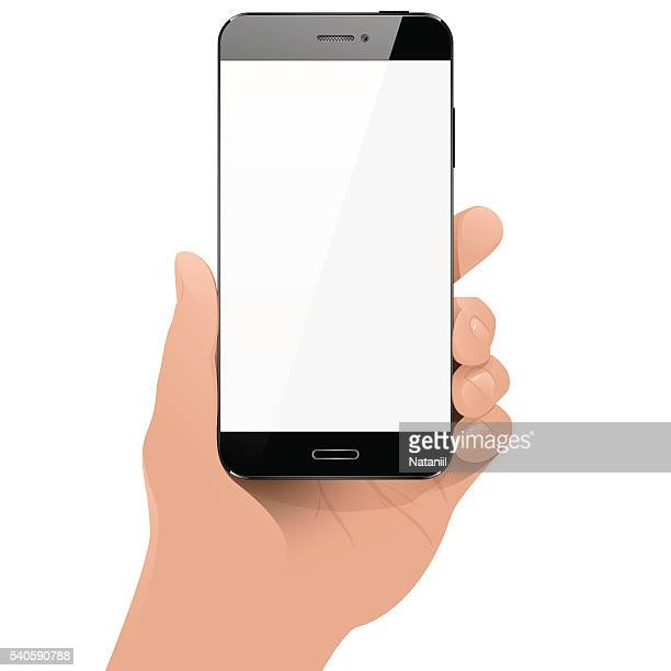with smart phone in hand - human hand stock illustrations