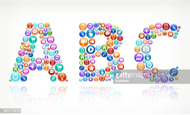 ABC with Social Networking and Internet royalty free vector arts