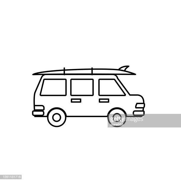 suv with surfboard on roof summer icon thin line style - surfboard stock illustrations