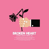 Wither Rose In Hand Broken Heart Concept