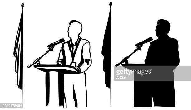 illustrazioni stock, clip art, cartoni animati e icone di tendenza di witness courtroom silhouette - democrazia
