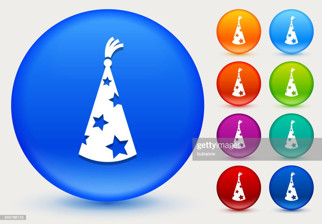 wizard hat icon on shiny color circle buttons vector art getty