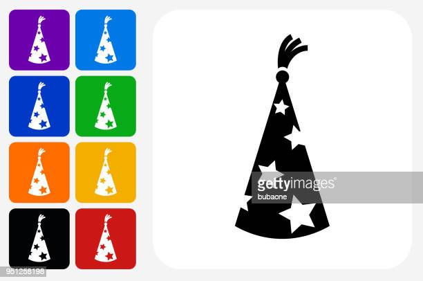 wizard hat icon square button set - wizard stock illustrations