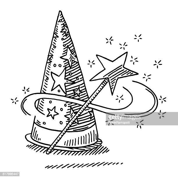 wizard hat magic wand star drawing - wizard stock illustrations, clip art, cartoons, & icons