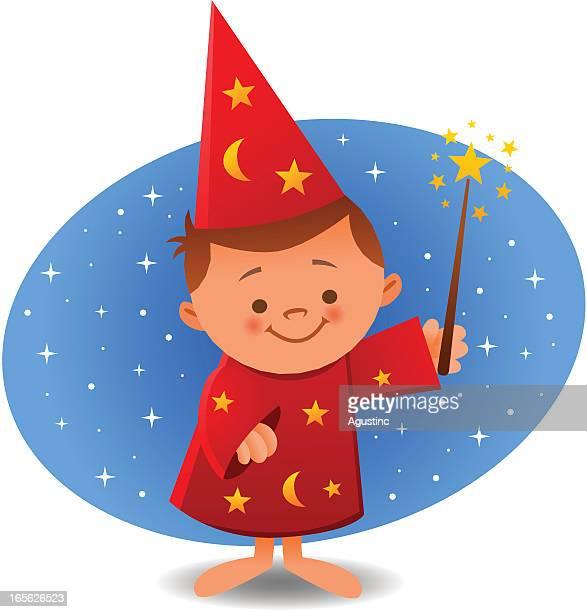 wizard kid - magician stock illustrations, clip art, cartoons, & icons