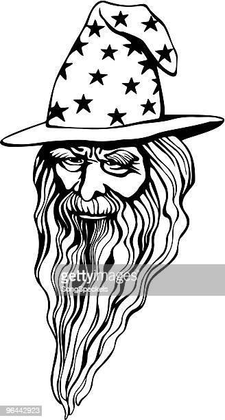 wizard portrait - wizard stock illustrations, clip art, cartoons, & icons