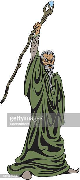 wizard raises his staff - wizard stock illustrations, clip art, cartoons, & icons