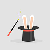 A wizard set: black hat with the rabbit ears inside and a magic wand. Flat editable vector illustration, clip art