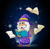 wizard with many books