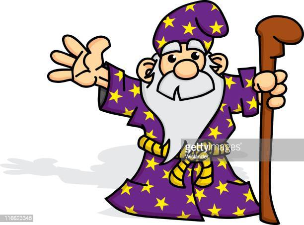wizard with staff - wizard stock illustrations, clip art, cartoons, & icons