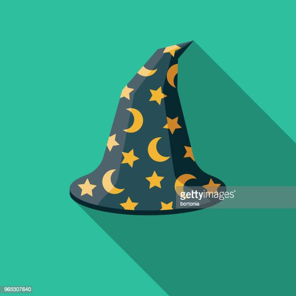 zauberers hut flach design fantasy-ikone - wizard stock-grafiken, -clipart, -cartoons und -symbole