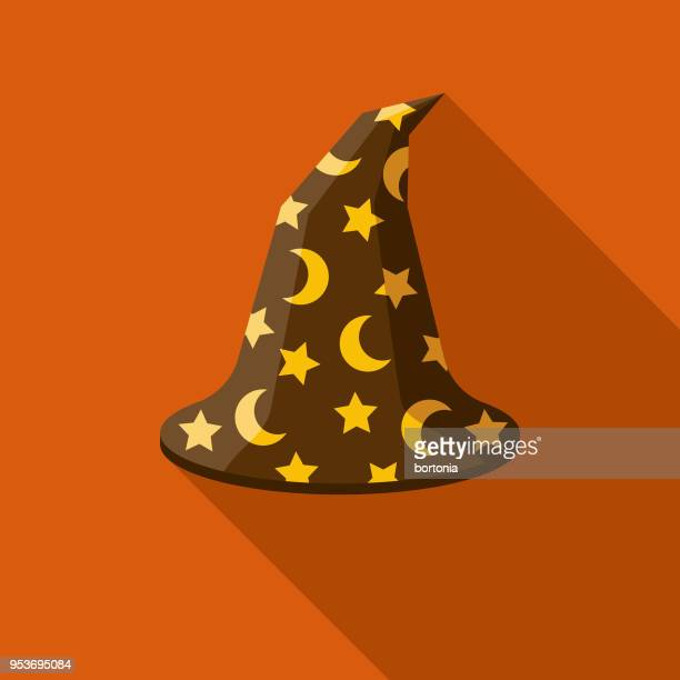 wizard's hat flat design halloween icon with side shadow - magician stock illustrations, clip art, cartoons, & icons
