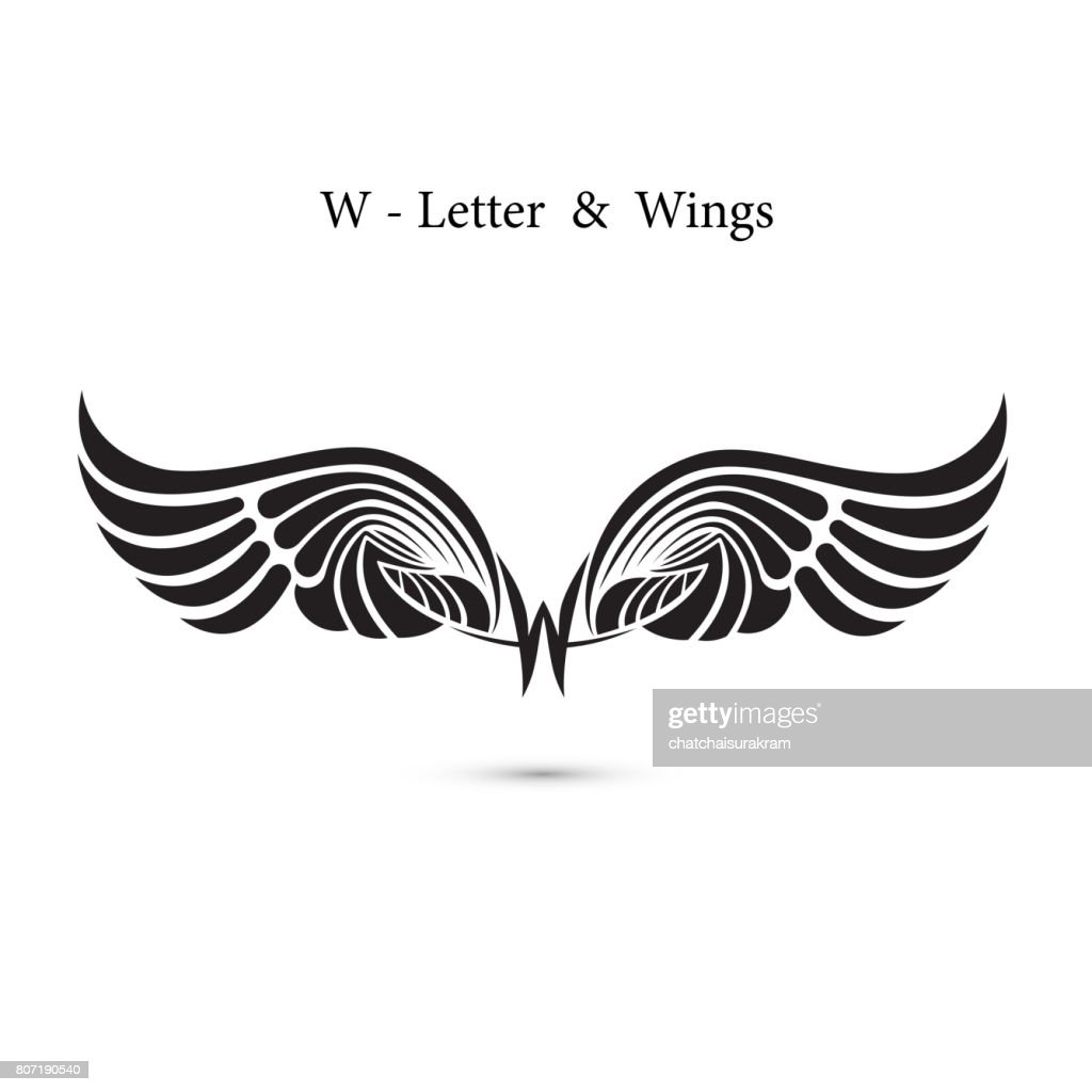 W-letter sign and angel wings.Monogram wing icon.Classic emblem.Elegant dynamic alphabet letters with wings.Creative design element.symbol identity.Flat web design wings icon.
