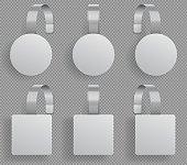 Wobbler template. Supermarket bended white blank wobblers. 3d sale discount plastic tags vector mockup