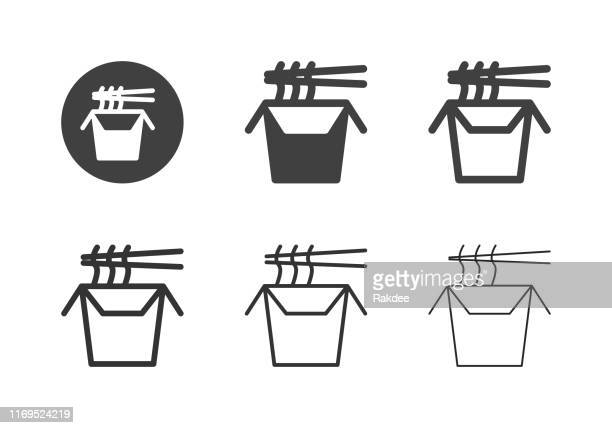 wok noodle box icons - multi series - chinese takeout stock illustrations