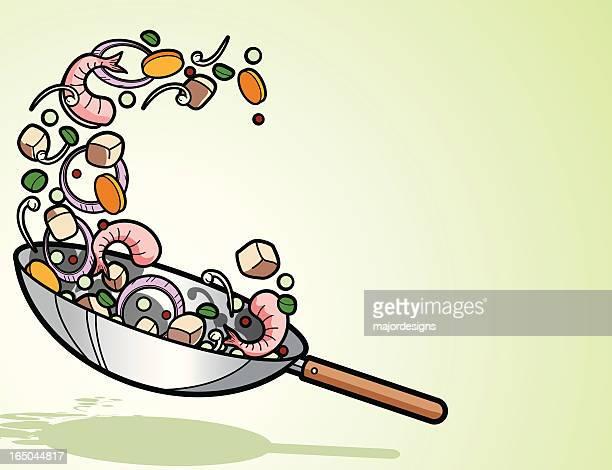 ilustrações, clipart, desenhos animados e ícones de panela wok - camarões
