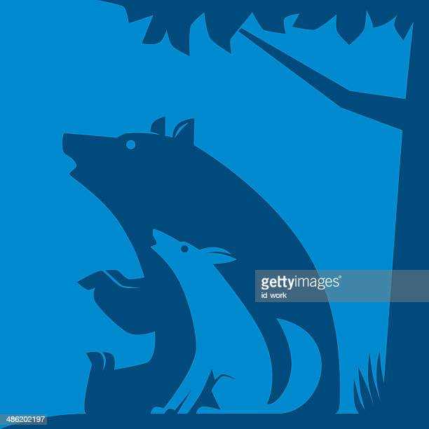 wolf and bear symbol - howling stock illustrations, clip art, cartoons, & icons