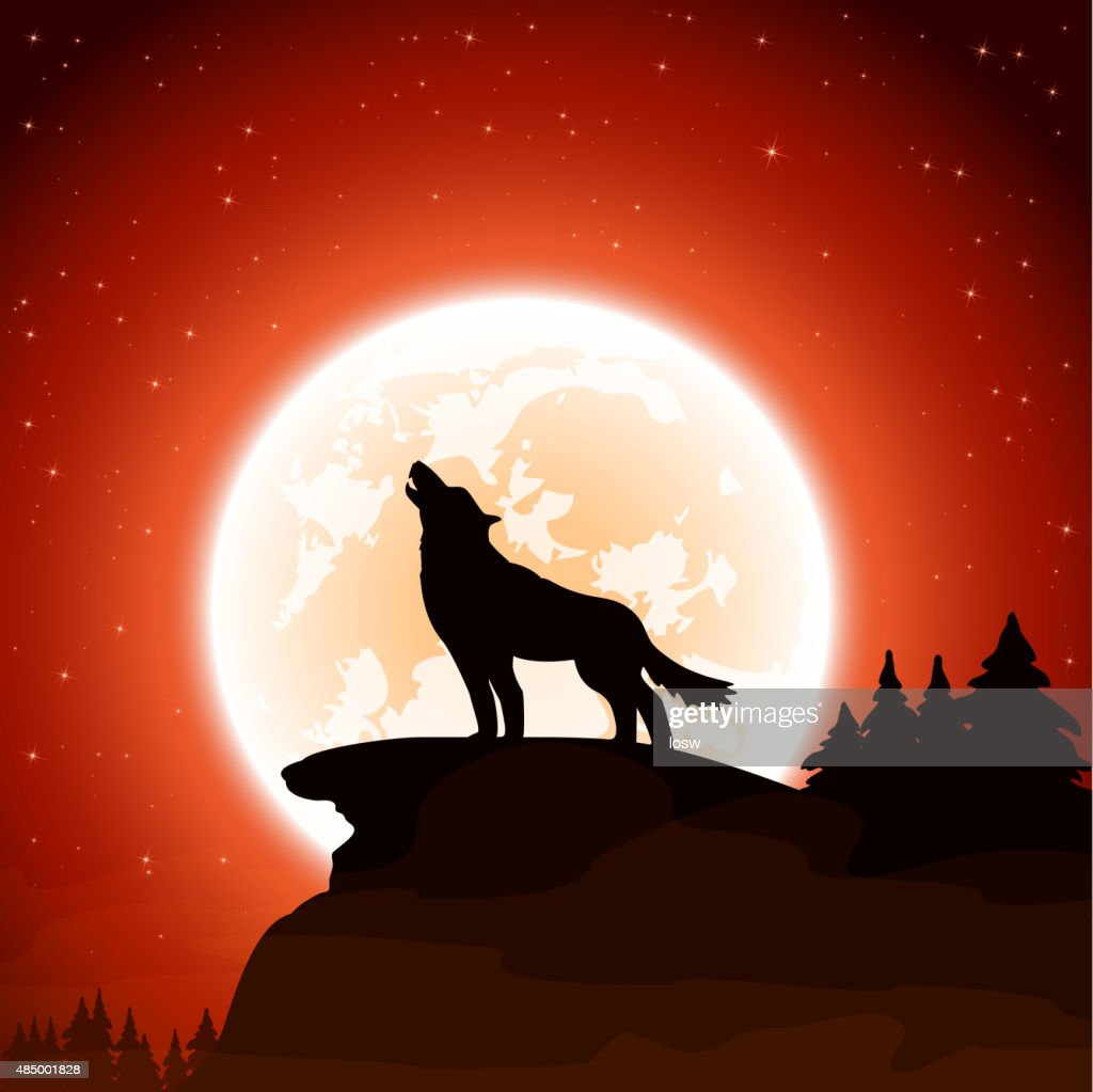 Wolf and Moon on sky background
