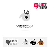 Wolf animal concept icon template for modern brand identity and app symbol