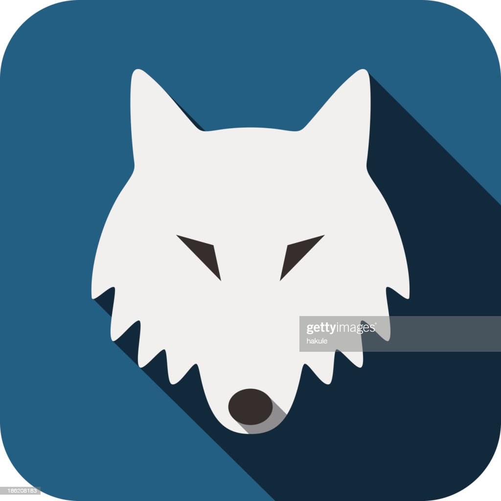 Wolf animal face flat design, vector