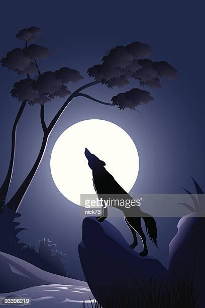 ilustraciones, imágenes clip art, dibujos animados e iconos de stock de lobo de fondo - luna llena